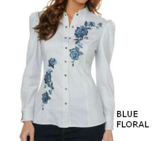 Diane Gilman Embroidered Puff Sleeve Striped Shirt