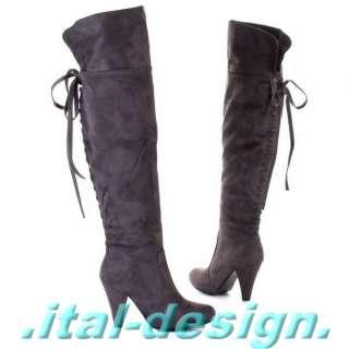 Aktuelle Damen Overknee Stiefel Schuhe Schlangen Optik 3509 Grau Silber 38