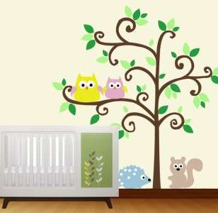 Tree with Owls Happi Happy Tree   Vinyl Wall Decal