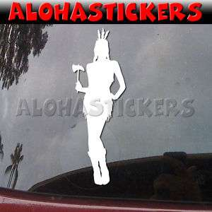 NATIVE AMERICAN INDIAN GIRL MAIDEN Decal Sticker W61