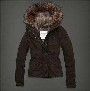 NWT Abercrombie Women Samantha faux fur lined hood Jacket Coat Outwear