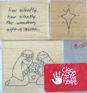 RUBBER STAMP SET D.O.T.S. CTMH HOW SILENTLY NATIVITY