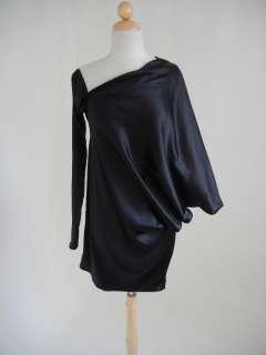 MARIA SEVERYNA Black One Sleeve Cocktail DRESS S/M Asymmetrical