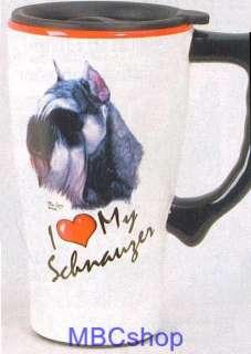 Dog Breeds Ceramic Coffee Mocha Latte Travel Mug, Plastic Lid