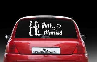 AH001 Auto Aufkleber Just Married Heckscheiben Sticker