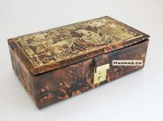 Egyptian Camel Leather Jewelry Box King Tut Hunt #142
