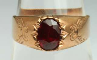 Antique 19th C. Victorian German 1.3ct Almandine Garnet 8K Rose Gold