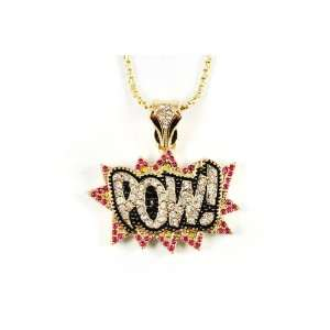 New ICED OUT POW Anh?nger w/20 Link Kette Small Gold Clear/Pink
