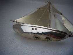 CRAFTED OLD JAPANESE STERLING SILVER MODEL YACHT SHIP NO RESERVE