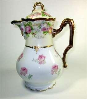 Antique A K D France Limoges Chocolate / Coffee Pot   6 Demitasse Cups