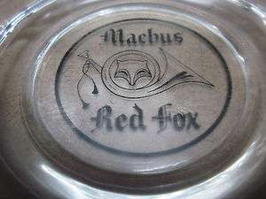 RED FOX glass ashtray Jimmy Hoffa tobacciana Michigan smoking Detroit