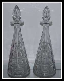 Pair of Big Antique American Cut Glass Decanters