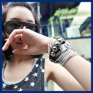 Korean Fashion Multi chain circle Alloy Studs Leather Punk Bangle