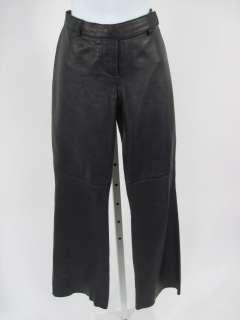 HUGO BUSCATI Black Leather Pants Slacks Sz 4 P