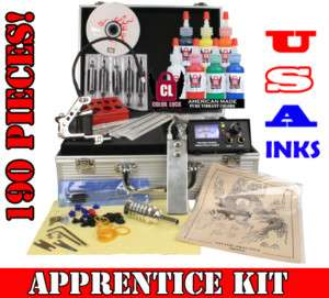 Beginner Tattoo Kit Set Power Supply 7 USA Ink Needles Grip Free Light