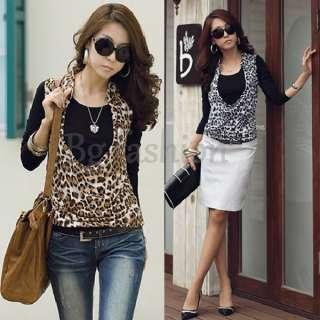 New Korea Womens Long Sleeve Tops 2 PCS Blouse Shirt+Leopard Print