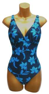SIZE 14 BLUE FLOWER EMPIRE LINE CUPPED SWIMWSUIT BNWT