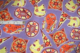 AFRICAN ART MULTICOLOR RETRO PRINT COTTON PURPLE FABRIC