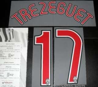 Juventus Trezeguet 2007/08 Football Shirt Name Set Kit