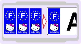 Autocollant Hello Kitty Sticker Plaque Immatriculation