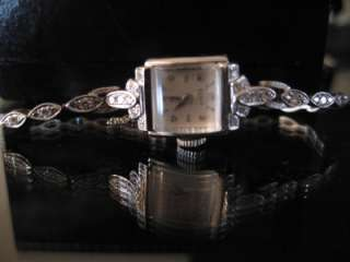 Art Deco Elgin 32 Real Diamond 14K Solid White Gold Wrist Watch