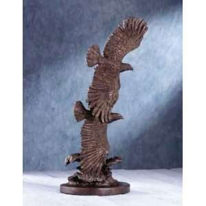 Wildlife Eagle Statue: Two Eagles in Flight Fine Art Sculpture with