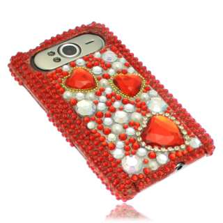 Red Love Hearts Rhinestone Diamante Case for HTC HD7