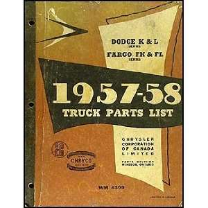 1958 Canadian Dodge Truck and Fargo Parts Book Original: MoPar: Books