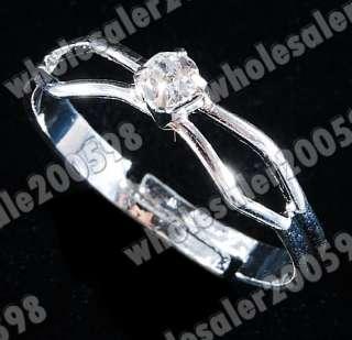 Heart Rhinestone Set Necklace&Bracelet&Earrings&Ring