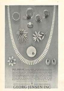 1960 Georg Jensen Gold Jewelry Pins Earrings Vintage Ad