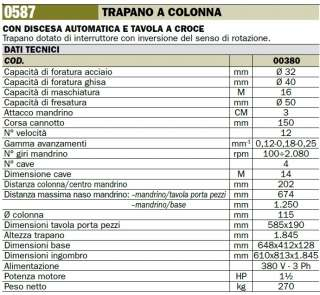 TRAPANO COLONNA DISCESA AUTOMATICA LTF 058700380