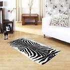 Zebra Style Print Faux Fur Rug 70cm x 140cm