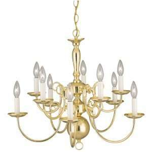 Westinghouse 66088   10 Light Polished Brass Ceiling Chandelier Light
