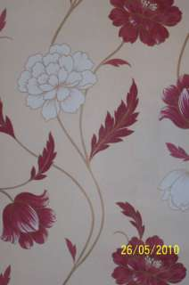 Wallpaper Cream with a soft red flower , Emma 424