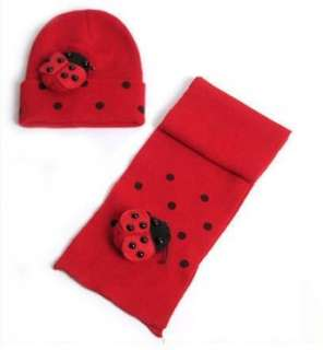 Girls Ladybug Red Knit Beanie Hat Scarf Set 1 3T CUTIE