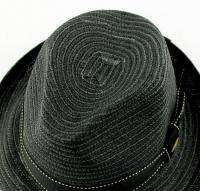 Scala Summer Paper Braid Fedora Hat Size M L XL Black Straw Retro Rat
