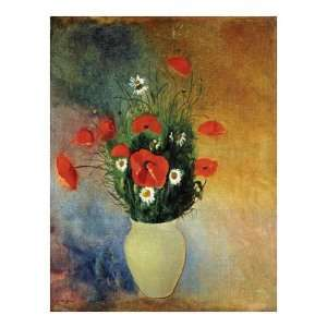 Poppies And Daisies by Odilon Redon. size: 31.5 inches