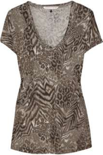 Rebecca Taylor Animal print cotton blend T shirt   84% Off Now at THE