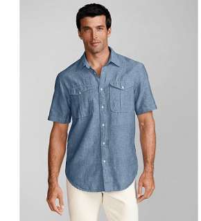 Eddie Bauer Men Shirts Casual Relaxed Fit Two Pocket Linen Shirt
