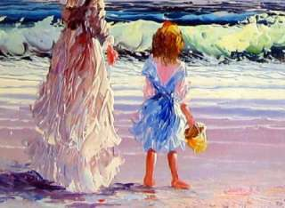 Large Oil Painting Mom Daughter Lady Girl Ocean Beach
