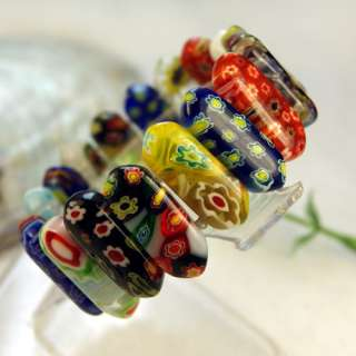 New Mixed Color Millefiori Glass Stretch Beads Bracelet