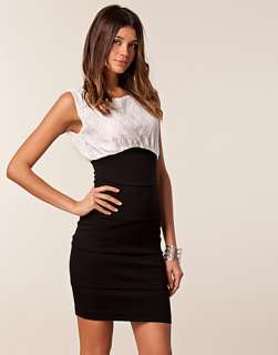 Lace Top Bodycon Dress   The Paper Sun   Black/white   Party dresses