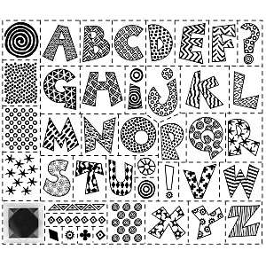 Rubber Stampede Alphabet Rubber Stamp Kit   Pattern W/Inkpad And 41