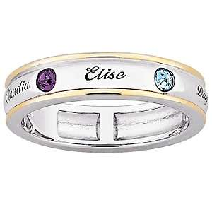 Tone Name & Birthstone Color Crystal Mothers Band Ring
