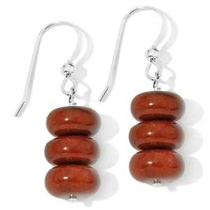 Jay King Red Brown Aventurine Sterling Silver Drop Earrings