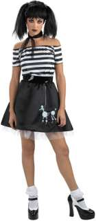 Includes Goth look black/white dress with skeletal poodle imprint