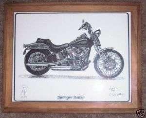 Harley Davidson Springer Softail Art Framed Motorcycle picture Drawing