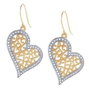 14K Yellow and White Gold Filligree Heart Drop Earrings Jewelry