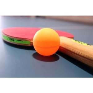 Table Tennis Ball And Racket On Ping Pong Table Peel And