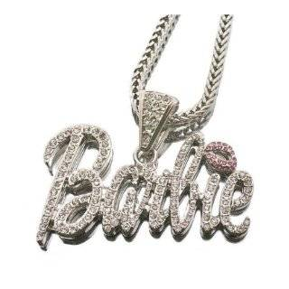 Iced Out Large Silver with Pink Lips Barbie Nicki Minaj with 18 Inch